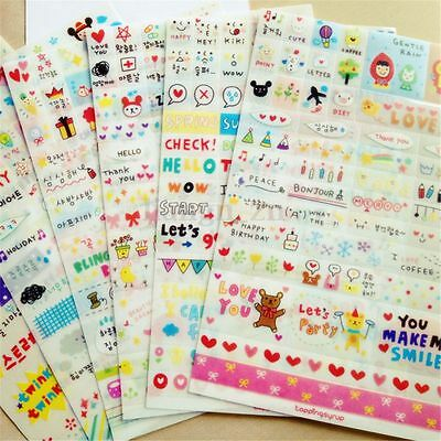 6Pcs Stickers Autocollant Gommette Album Note Carte Embellissement Scrapbooking
