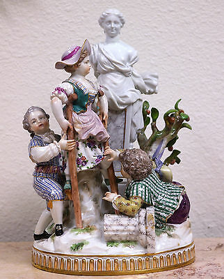 Meissen Painted Porcelain Group of Children at Play w/Stilts late 19th century