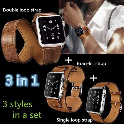 Genuine Leather Cuff Bracelet Long Watch Band Strap for iWatch Apple Watch 38/42