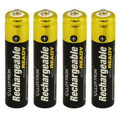 4 x LLOYTRON 550 mAh AAA PRE CHARGED RECHARGEABLE Ni-MH BATTERIES