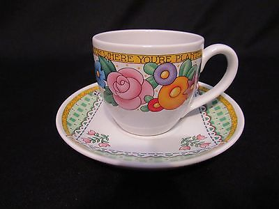 """Mary Engelbreit """"Bloom Where You Are Planted  Tea Cup Set Euc"""