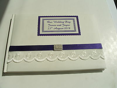 Personalised Wedding Guest Book White Pale Ivory Lace Various Ribbon Colours