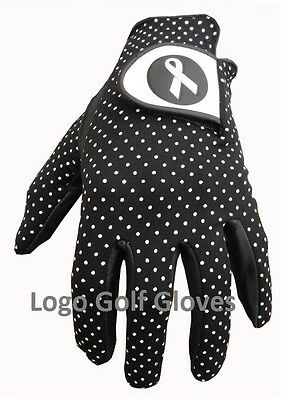 Golf Glove Cabretta Leather Polka Dot Lycra Backed 4 Ladies 5 Sizes Ribbon Logo