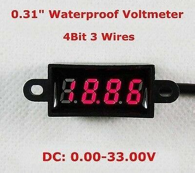 Waterproof  DC 0-33.00V 4 Digital Voltmeter LED Volt Panel Meter 12V 24V car