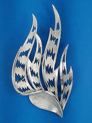 VINTAGE 60's CROWN TRIFARI ALFRED PHILIPPE ABSTRACT FLAME PIN BROOCH ~ 3""