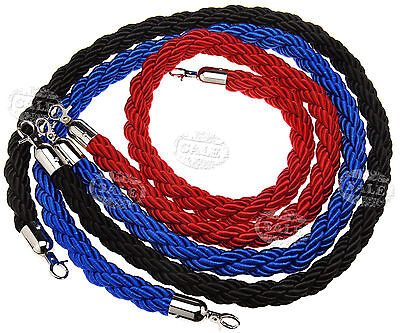 Red/Blue/Black Twisted Barrier 1.5M Rope Queue Divider Crowd Control Stanchion