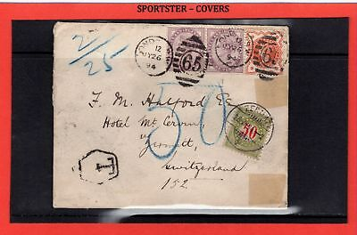 1894 double weight  GB to Switzerland tied postage due