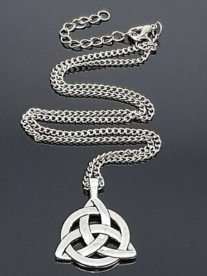 """TRINITY KNOT -  TRIQUETRA - NECKLACE 18"""" TO 31"""" LONG VARIED CHAIN NECKLACE (d4)"""