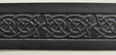 Black Celtic Knot Embossed Real Leather Men's Snap Belt 1.5″ Wide Irish Made