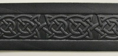 "Black Celtic Knot Embossed Real Leather Men's Snap Belt 1.5"" Wide Irish Made"