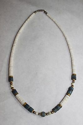 Blue Denim Sponge Coral Puka Heishi Bead Shell Necklace Brass Disc Accents 20""