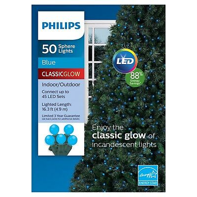 New ! Philips 50 Count Blue Sphere Indoor/Outdoor LED Christmas String Lights