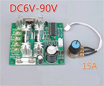 1PCS 6-90V 15A DC Motor Speed Controller Pulse Width PWM Speed Regulator Switch