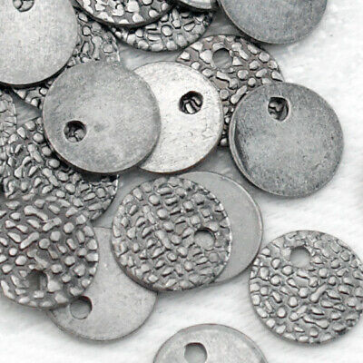 30pcs Antique Silver SIGNATURE STAMPING TAGS TABS Ends Tab End Tag Round 7mm