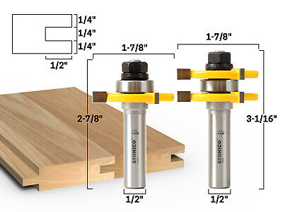 """Yonico 15221 - Matched Tongue and Groove Router Bit Set 1/2"""" Shank"""