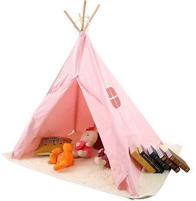 new Children Kids Girls Teepee Tent Playhouse Single-layer in/outdoor Toy Pink
