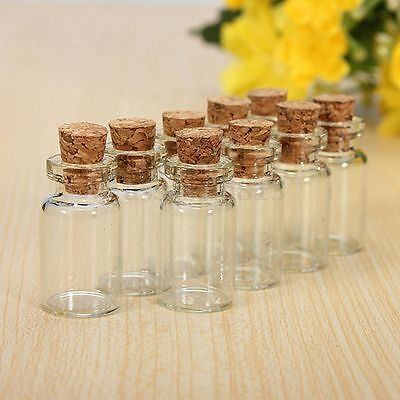 0.5/1/2/5ML Clear Mini Small Cork Stopper Glass Vial Jars Containers Bottle Bulk