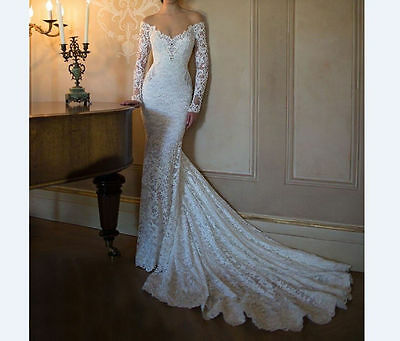 New mermaid White/ivory Lace Bridal Gown Wedding Dress Size 4 6 8 10 12 14+