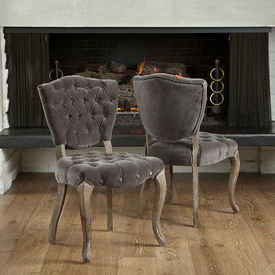 Set Of 2 French Design Weathered Oak Dining Chairs Upholstered W Tufted Velvet