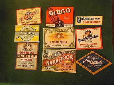 Vintage Soda Bottle Labels lot of 6