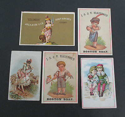 Lot of 5  SOAP Victorian Trade Cards