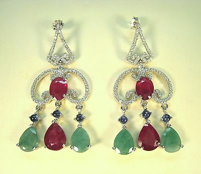 18.58 CTW RUBY, EMERALD, BLUE SAPPHIRE, CZ EARRINGS WHITE GOLD-plated 925 SILVER
