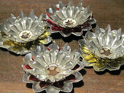 Vintage tin and aluminum Christmas tree candle reflectors gold and red set of 4