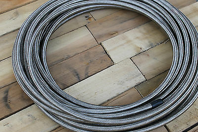 """AN6 -6 8mm 5/16"""" Braided Stainless Steel Rubber Hose 1M Fuel Oil Water"""