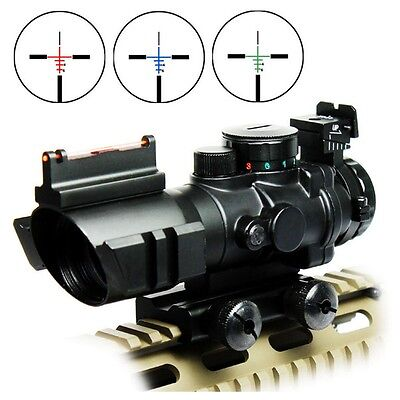 New 4X32 Prismatic Rifle Scope with Fiber Optic Sight BDC Recticle For Hunting