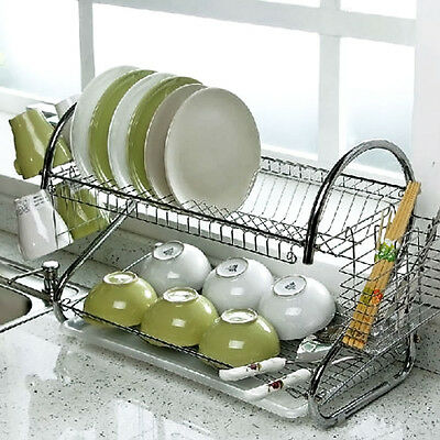 2 Tiers Chrome Kitchen Drip Dish Drainer Plates Cutlery Rack & Glass Mugs Holder