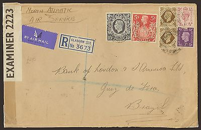 1941 WWII Registered Censored High Rate Airmail to Brazil.