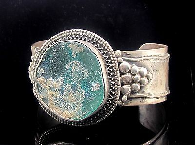 ancient roman glass    set in bracelet 925 silver amazing.