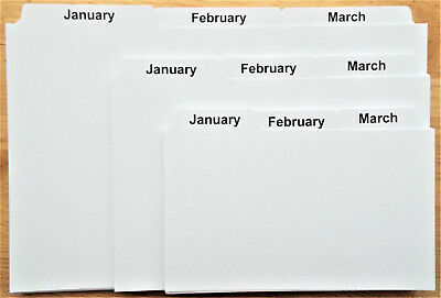 Jan-Dec INDEX RECORD GUIDE CARDS 8x5 6x4 5x3 : MONTHS OF YEAR Dividers Tabs : UK