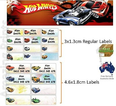 Hot Wheels Vinyl Personalised Name Label Sticker school book boy tag custom