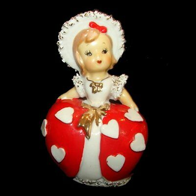 Rare Gorgeous Vintage Valentine Girl Bell w Hat & Hearts - February Birthday too