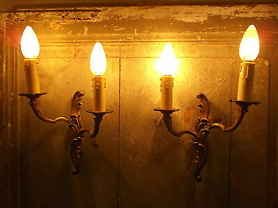 French a pair of patina gold bronze wall light sconces finely detailed vintage • CAD $113.27