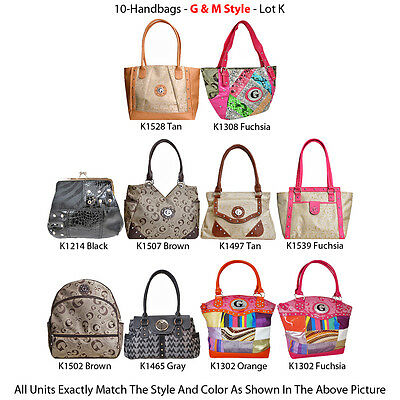 Wholesale Lot - 10 Women's G & M Style Handbags - Premium Tote Bags & Purses