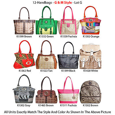Wholesale Lot - 12 Women's G & M Style Handbags - Satchel Purses & Backpacks