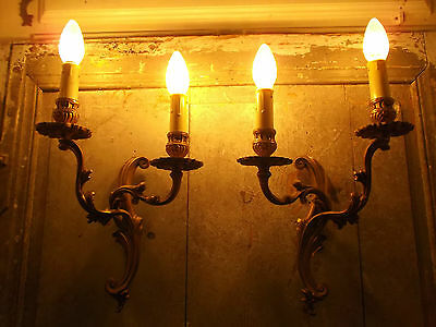 French a pair of  gold bronze wall light sconces stunning detailed vintage