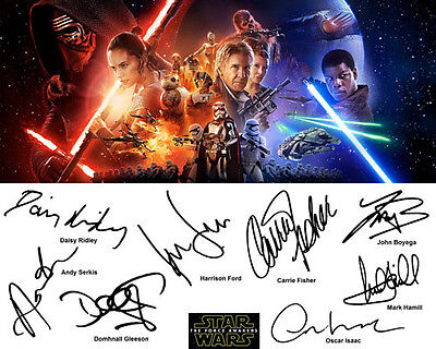 Star Wars the Force Awakens Signed Photo Auto Reprint Harrison Ford Daisy Ridley