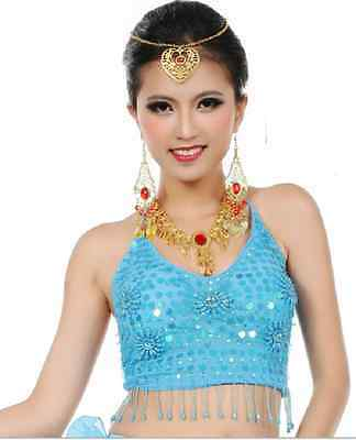 Adult Belly Dancing Top Head Scarf Coin Skirt Jewerly Bollywood dance Costume
