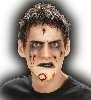 Halloween Horror Special Effect Make Up Zombie Chin Wound Fancy Dress FREE BLOOD