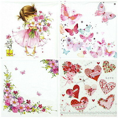 4x Pink World Mix Paper Napkins for Decoupage Decopatch Craft
