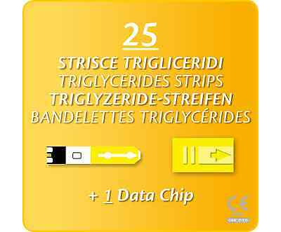 25 Triglycerides Blood Test/Testing Strips 4 Prima 2-In-1/3-In-1 Multicare Meter
