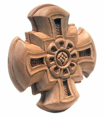 Outstanding Relief Carved Cross Onlay Pediment Unfinished Wood