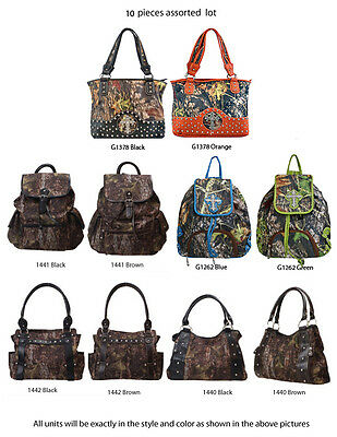 Wholesale Lot - Set of 10 - Women's Camo Satchel Bags Backpacks Handbags Purses