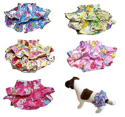 SET of 5 COLORS Dog Pet Diaper Skirt Pants Female COTTON Ruche for SMALL Breeds