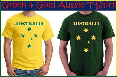 AUSSIE Green Gold T-SHIRT Mens TOP Australia Commonwealth Olympic Souvenir NEW