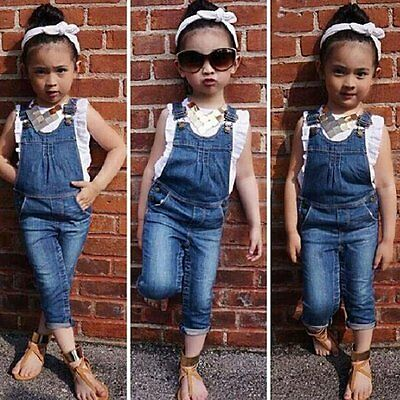 2PCS Toddler Kids Baby Girls T-Shirt Tops+Jeans Denim Bib Pants Overalls Outfits