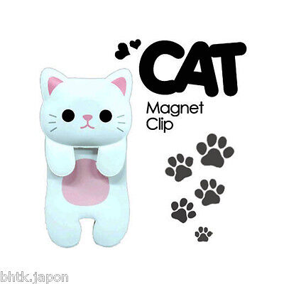 MAGNET ねこのマグネットクリップ Magnet clip NEKO Blanc - Import direct JAPON